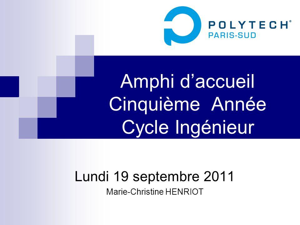 Amphi daccueil Cinquième Année Cycle Ingénieur Lundi 19 septembre 2011 Marie-Christine HENRIOT