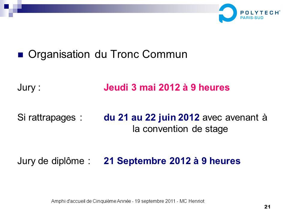 Amphi d'accueil de Cinquième Année - 19 septembre 2011 - MC Henriot 21 Organisation du Tronc Commun Jury : Jeudi 3 mai 2012 à 9 heures Si rattrapages