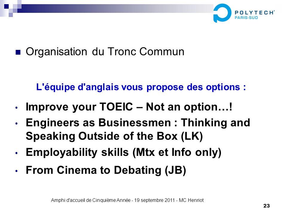 Amphi d'accueil de Cinquième Année - 19 septembre 2011 - MC Henriot 23 Organisation du Tronc Commun L'équipe d'anglais vous propose des options : Impr