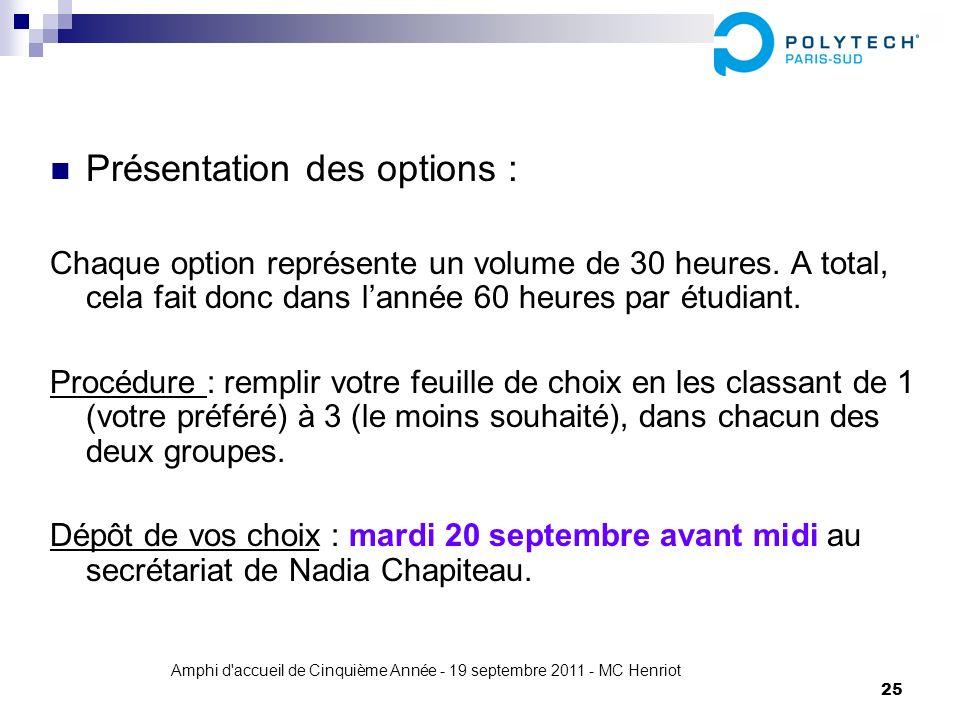 Amphi d'accueil de Cinquième Année - 19 septembre 2011 - MC Henriot 25 Présentation des options : Chaque option représente un volume de 30 heures. A t