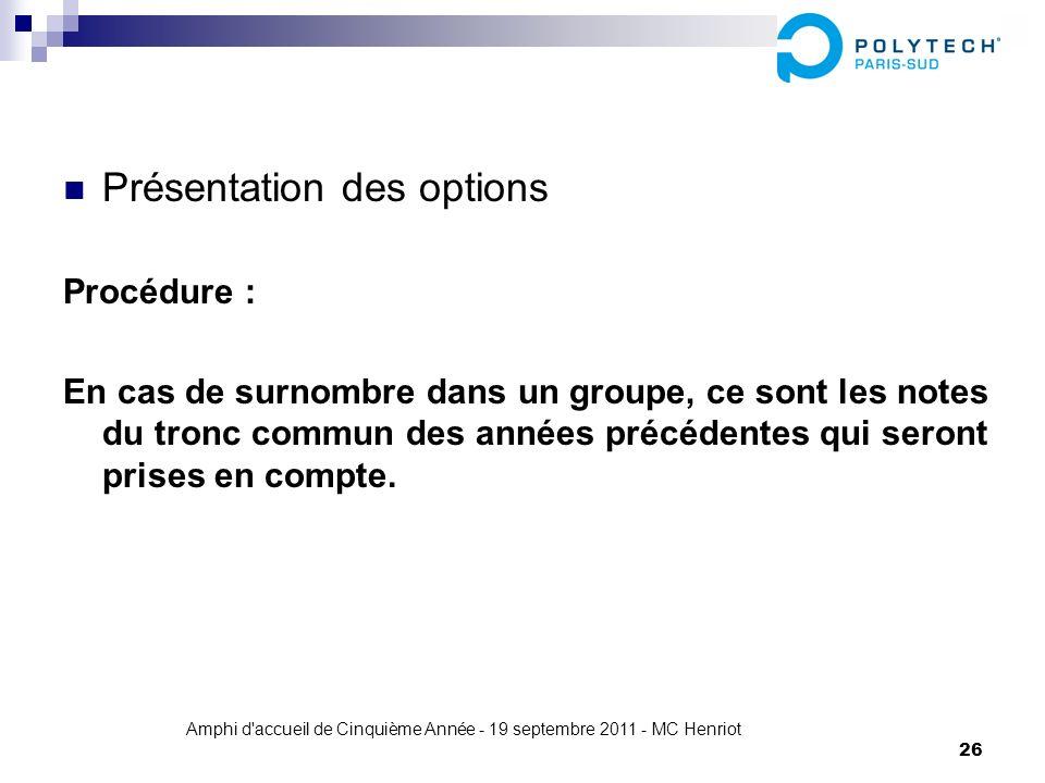 Amphi d'accueil de Cinquième Année - 19 septembre 2011 - MC Henriot 26 Présentation des options Procédure : En cas de surnombre dans un groupe, ce son