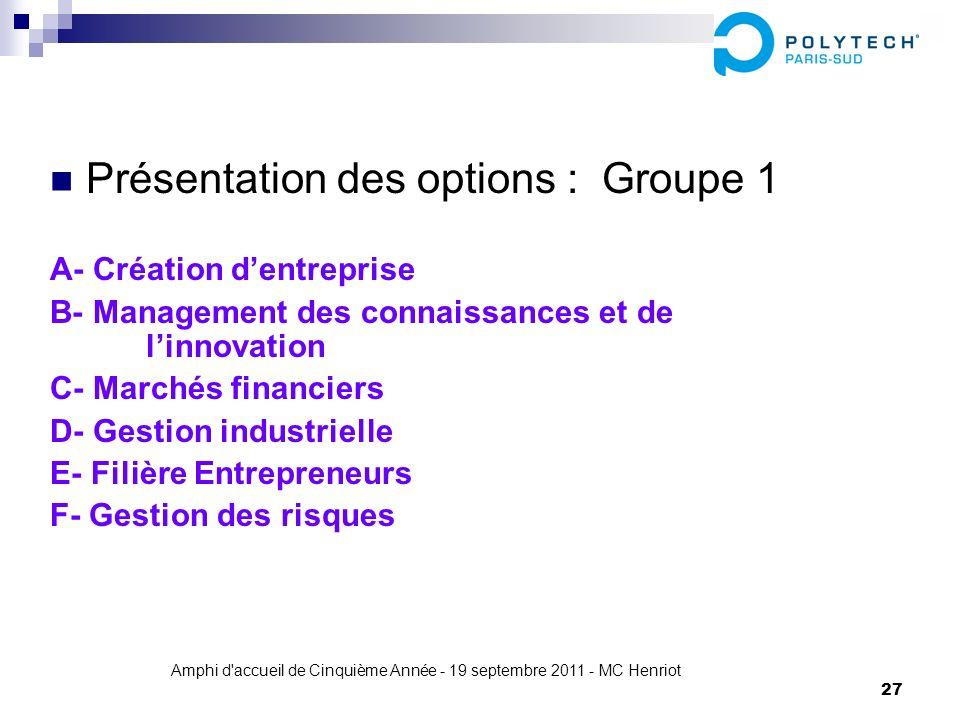 Amphi d'accueil de Cinquième Année - 19 septembre 2011 - MC Henriot 27 Présentation des options : Groupe 1 A- Création dentreprise B- Management des c