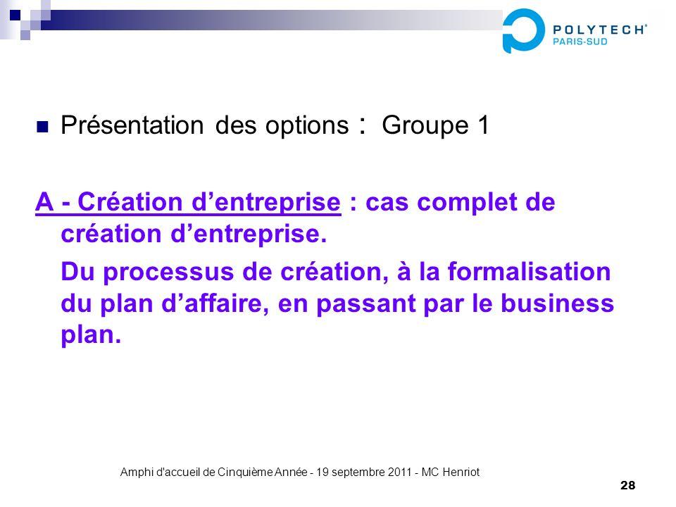 Amphi d'accueil de Cinquième Année - 19 septembre 2011 - MC Henriot 28 Présentation des options : Groupe 1 A - Création dentreprise : cas complet de c
