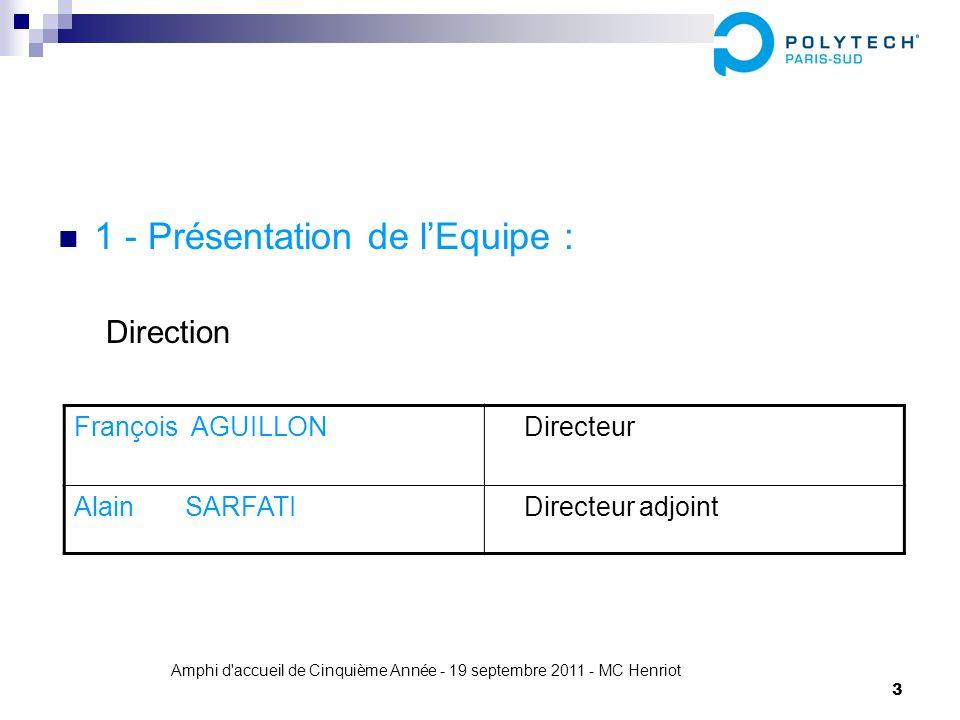 Amphi d'accueil de Cinquième Année - 19 septembre 2011 - MC Henriot 3 1 - Présentation de lEquipe : Direction François AGUILLON Directeur Alain SARFAT