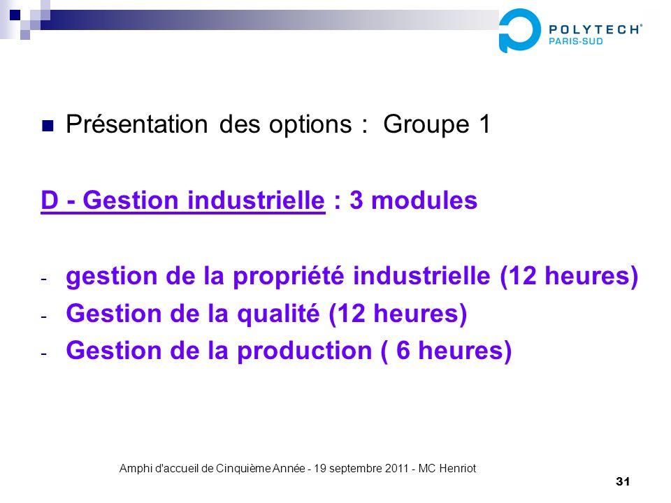 Amphi d'accueil de Cinquième Année - 19 septembre 2011 - MC Henriot 31 Présentation des options : Groupe 1 D - Gestion industrielle : 3 modules - gest