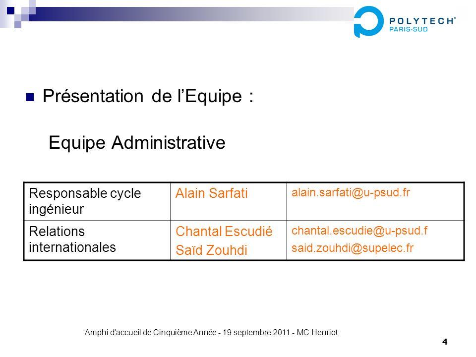 Amphi d'accueil de Cinquième Année - 19 septembre 2011 - MC Henriot 4 Présentation de lEquipe : Equipe Administrative Responsable cycle ingénieur Alai