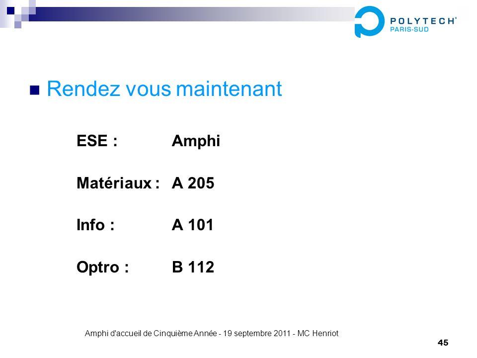 Amphi d'accueil de Cinquième Année - 19 septembre 2011 - MC Henriot 45 Rendez vous maintenant ESE : Amphi Matériaux : A 205 Info : A 101 Optro : B 112