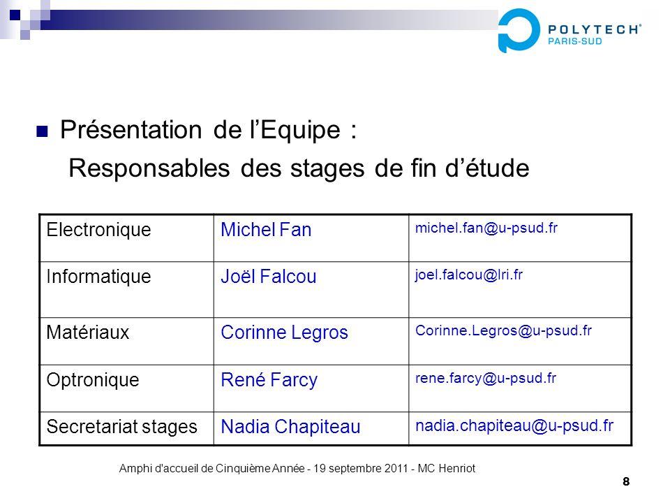 Amphi d'accueil de Cinquième Année - 19 septembre 2011 - MC Henriot 8 Présentation de lEquipe : Responsables des stages de fin détude ElectroniqueMich