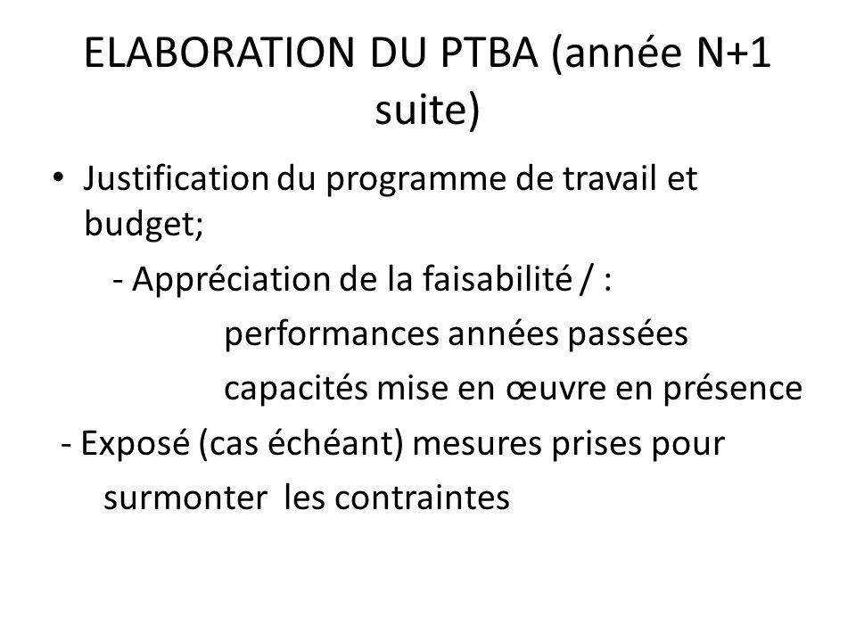 ELABORATION DU PTBA (année N+1 suite) Justification du programme de travail et budget; - Appréciation de la faisabilité / : performances années passée