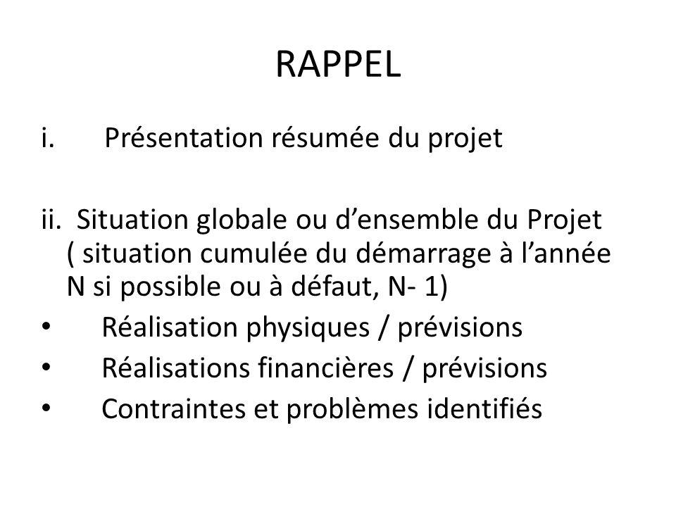 RAPPEL (suite) Résumée situation de lannée N (au moins jusquau 30/9 /N) Réalisations physiques / prévisions Réalisations financières / prévisions Contraintes et problèmes identifiés
