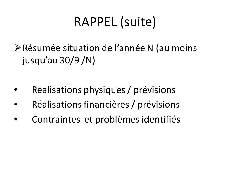 RAPPEL (suite) Résumée situation de lannée N (au moins jusquau 30/9 /N) Réalisations physiques / prévisions Réalisations financières / prévisions Cont