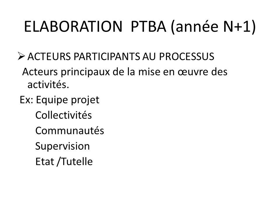 ELABORATION PTBA (année N+1) ACTEURS PARTICIPANTS AU PROCESSUS Acteurs principaux de la mise en œuvre des activités. Ex: Equipe projet Collectivités C