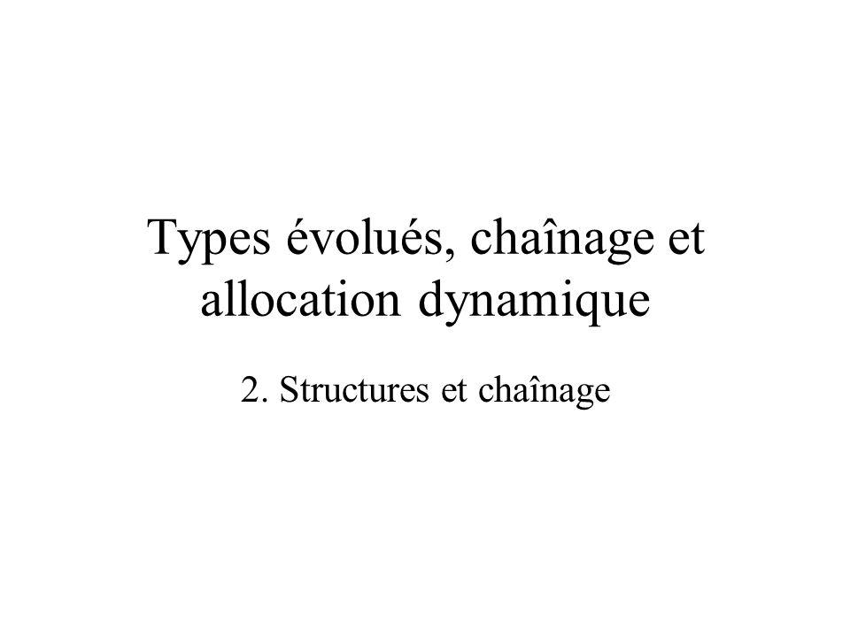 2. Structures et chaînage Types évolués, chaînage et allocation dynamique