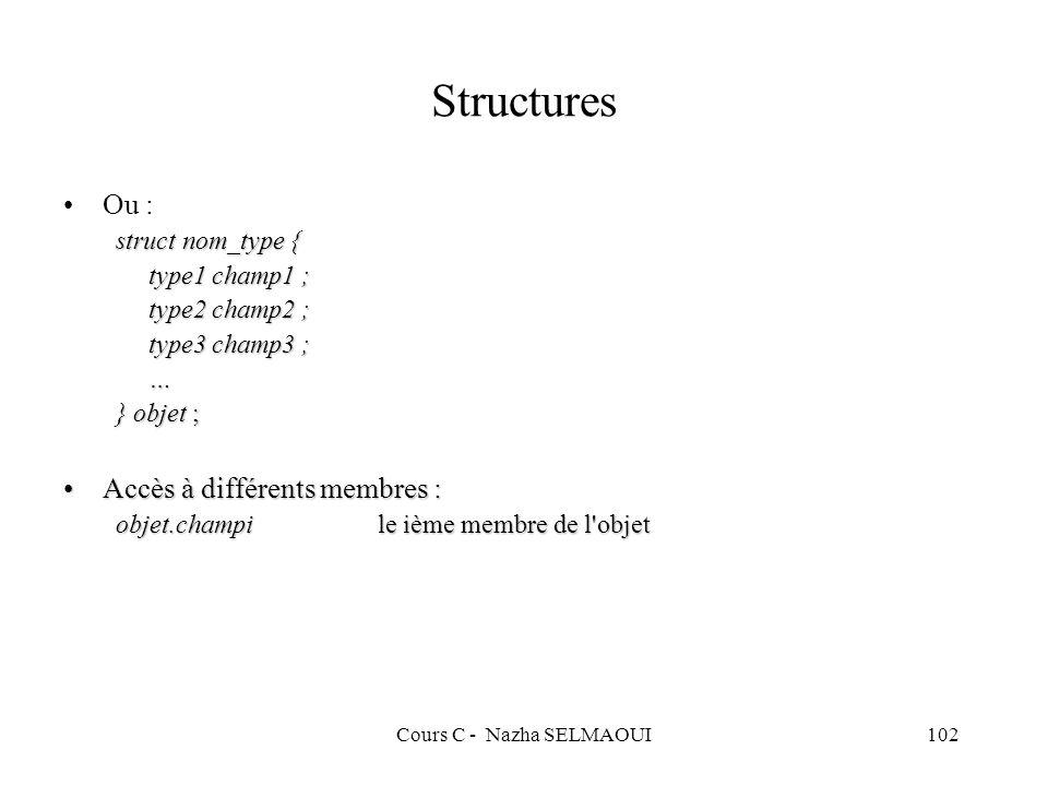 Cours C - Nazha SELMAOUI102 Structures Ou : struct nom_type { type1 champ1 ; type2 champ2 ; type3 champ3 ; … } objet ; Accès à différents membres :Accès à différents membres : objet.champile ième membre de l objet