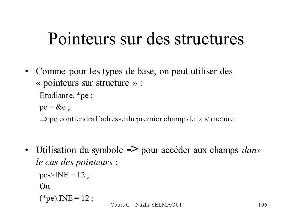Cours C - Nazha SELMAOUI106 Pointeurs sur des structures Comme pour les types de base, on peut utiliser des « pointeurs sur structure » : Etudiant e, *pe ; pe = &e ; pe pe contiendra ladresse du premier champ de la structure Utilisation du symbole -> pour accéder aux champs dans le cas des pointeurs : pe->INE = 12 ; Ou (*pe).INE = 12 ;