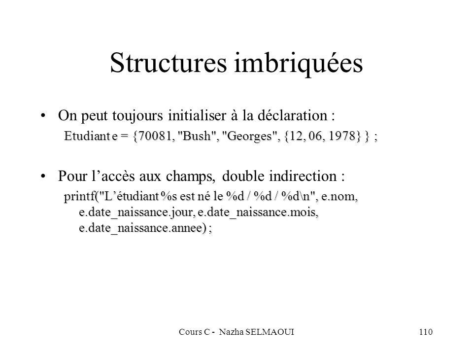 Cours C - Nazha SELMAOUI110 Structures imbriquées On peut toujours initialiser à la déclaration : Etudiant e = {70081, Bush , Georges , {12, 06, 1978} } ; Pour laccès aux champs, double indirection : printf( Létudiant %s est né le %d / %d / %d\n , e.nom, e.date_naissance.jour, e.date_naissance.mois, e.date_naissance.annee) ;