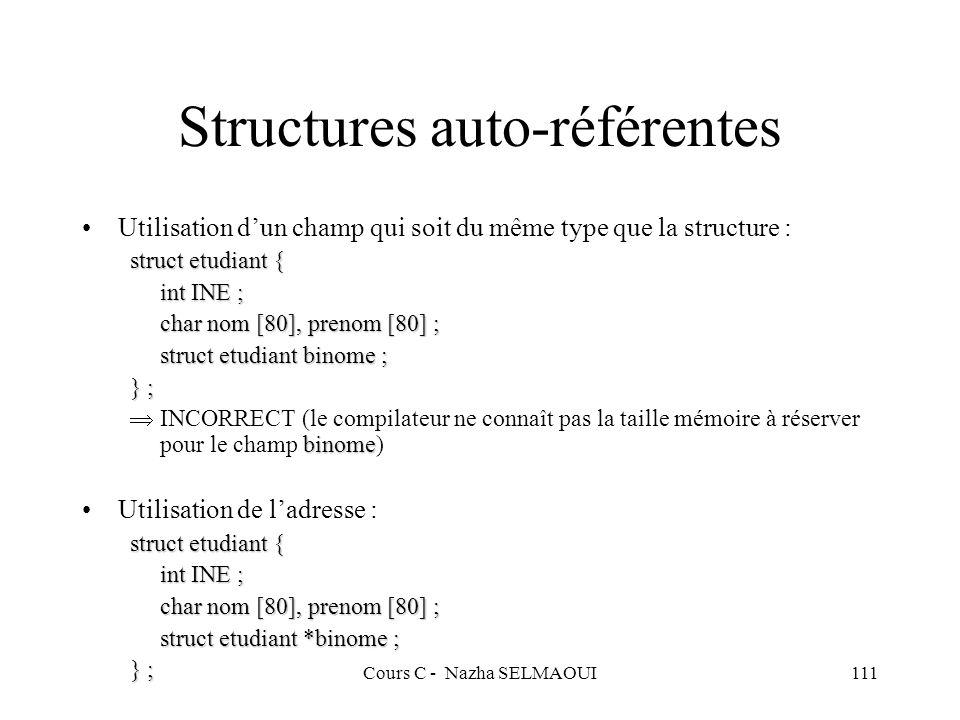 Cours C - Nazha SELMAOUI111 Structures auto-référentes Utilisation dun champ qui soit du même type que la structure : struct etudiant { int INE ; char nom [80], prenom [80] ; struct etudiant binome ; } ; binome INCORRECT (le compilateur ne connaît pas la taille mémoire à réserver pour le champ binome) Utilisation de ladresse : struct etudiant { int INE ; char nom [80], prenom [80] ; struct etudiant *binome ; } ;