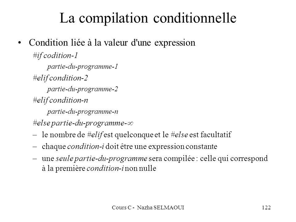 Cours C - Nazha SELMAOUI122 La compilation conditionnelle Condition liée à la valeur d une expression #if codition-1 partie-du-programme-1 #elif condition-2 partie-du-programme-2 #elif condition-n partie-du-programme-n #else partie-du-programme- –le nombre de #elif est quelconque et le #else est facultatif –chaque condition-i doit être une expression constante –une seule partie-du-programme sera compilée : celle qui correspond à la première condition-i non nulle