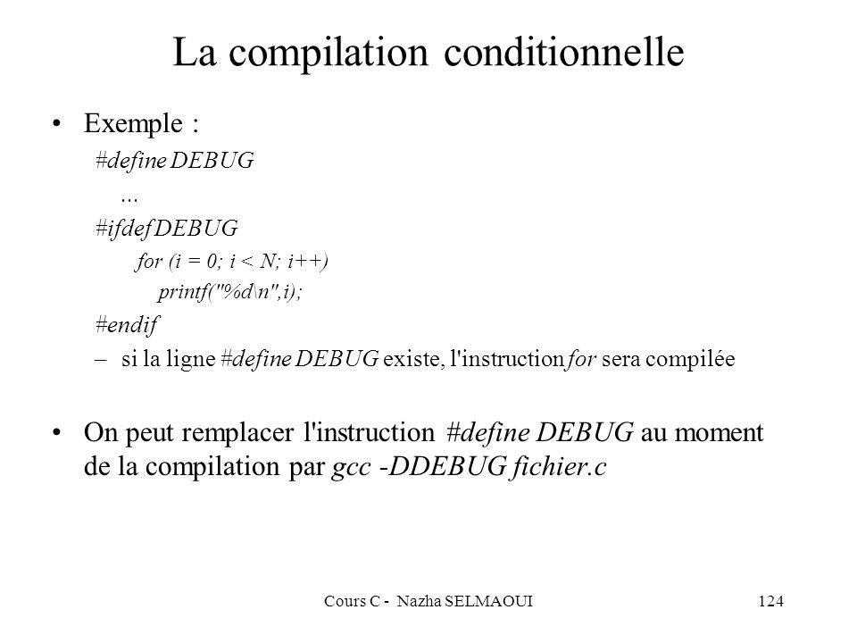 Cours C - Nazha SELMAOUI124 La compilation conditionnelle Exemple : #define DEBUG...