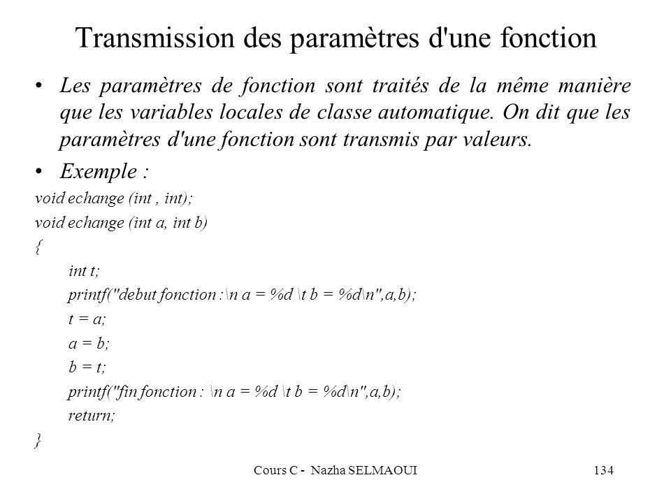 Cours C - Nazha SELMAOUI134 Transmission des paramètres d une fonction Les paramètres de fonction sont traités de la même manière que les variables locales de classe automatique.