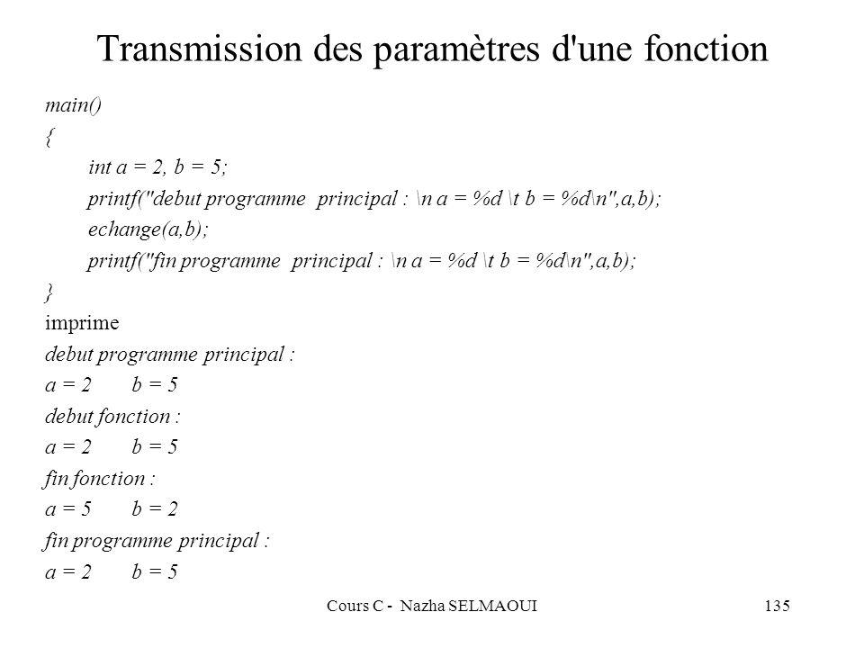 Cours C - Nazha SELMAOUI135 Transmission des paramètres d une fonction main() { int a = 2, b = 5; printf( debut programme principal : \n a = %d \t b = %d\n ,a,b); echange(a,b); printf( fin programme principal : \n a = %d \t b = %d\n ,a,b); } imprime debut programme principal : a = 2b = 5 debut fonction : a = 2b = 5 fin fonction : a = 5b = 2 fin programme principal : a = 2b = 5