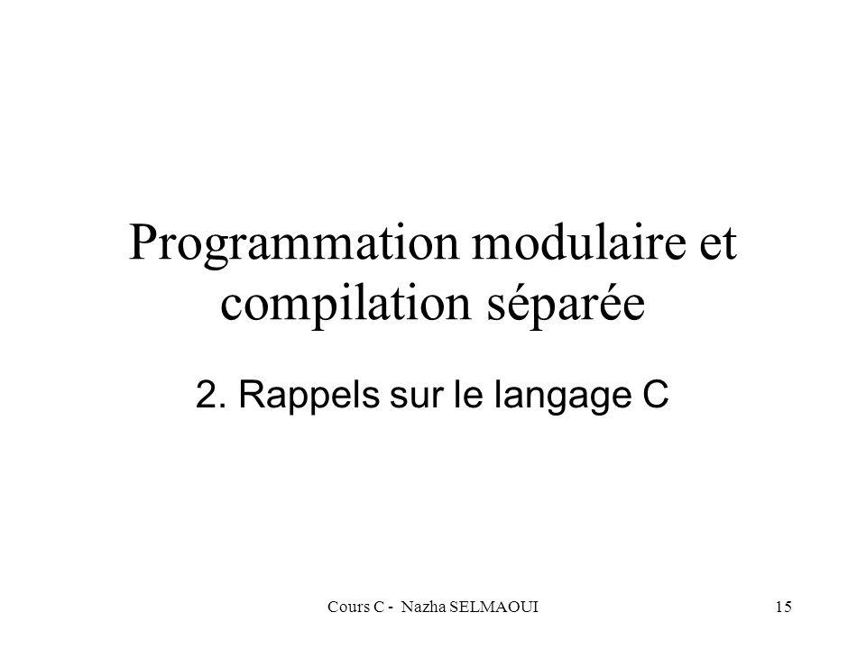 Cours C - Nazha SELMAOUI15 Programmation modulaire et compilation séparée 2.