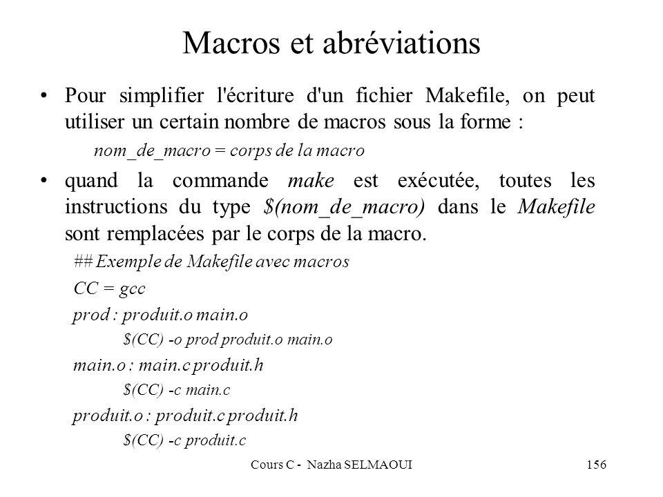 Cours C - Nazha SELMAOUI156 Macros et abréviations Pour simplifier l écriture d un fichier Makefile, on peut utiliser un certain nombre de macros sous la forme : nom_de_macro = corps de la macro quand la commande make est exécutée, toutes les instructions du type $(nom_de_macro) dans le Makefile sont remplacées par le corps de la macro.