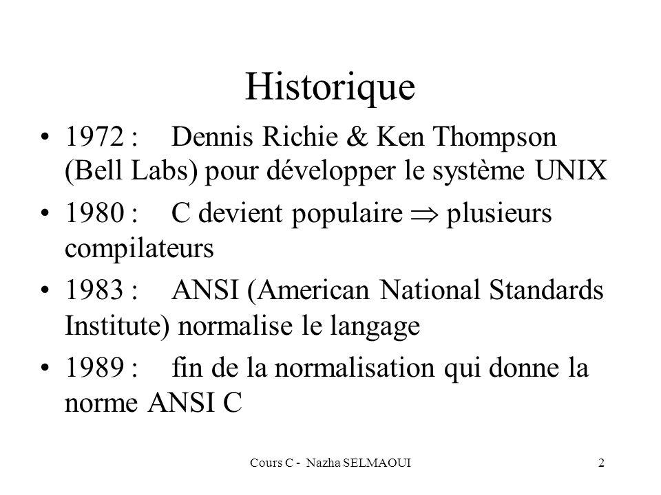 Cours C - Nazha SELMAOUI2 Historique 1972 :Dennis Richie & Ken Thompson (Bell Labs) pour développer le système UNIX 1980 :C devient populaire plusieurs compilateurs 1983 :ANSI (American National Standards Institute) normalise le langage 1989 :fin de la normalisation qui donne la norme ANSI C