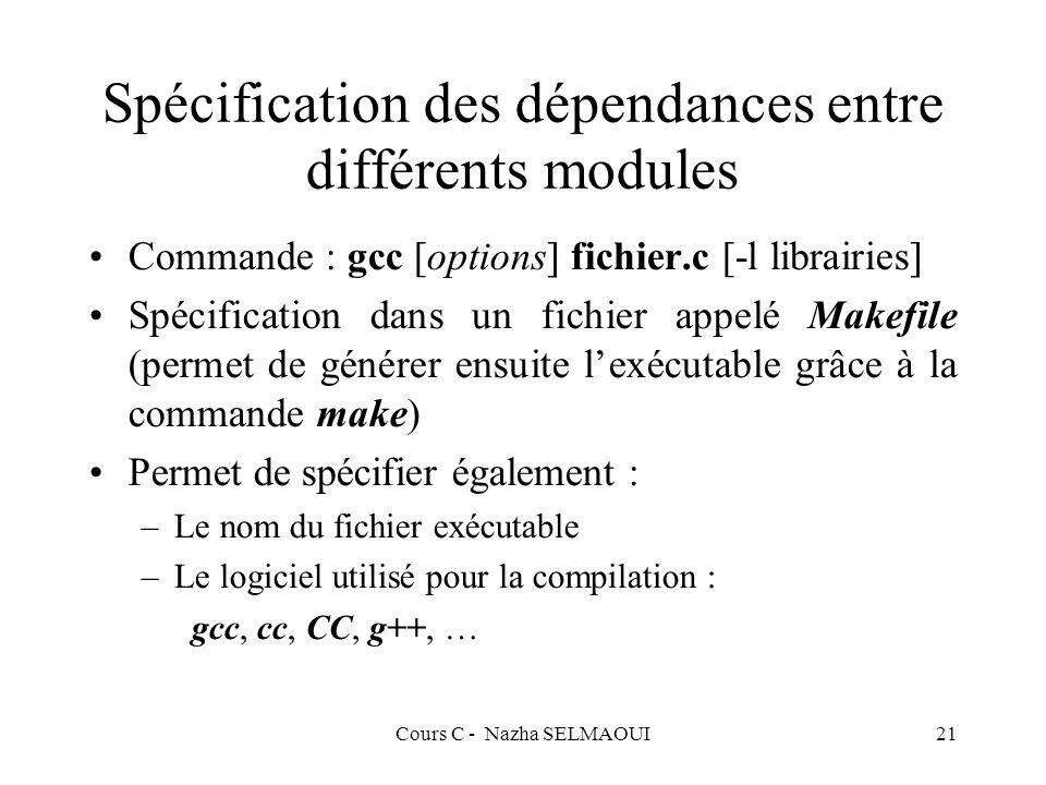 Cours C - Nazha SELMAOUI21 Spécification des dépendances entre différents modules Commande : gcc [options] fichier.c [-l librairies] Spécification dans un fichier appelé Makefile (permet de générer ensuite lexécutable grâce à la commande make) Permet de spécifier également : –Le nom du fichier exécutable –Le logiciel utilisé pour la compilation : gcc, cc, CC, g++, …