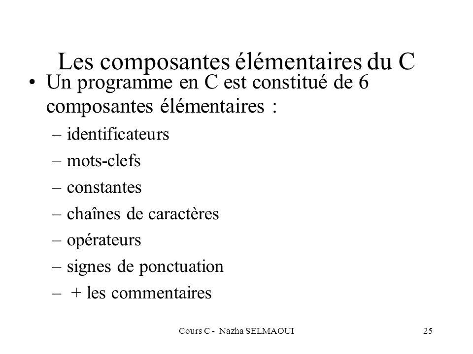 Cours C - Nazha SELMAOUI25 Les composantes élémentaires du C Un programme en C est constitué de 6 composantes élémentaires : –identificateurs –mots-clefs –constantes –chaînes de caractères –opérateurs –signes de ponctuation – + les commentaires