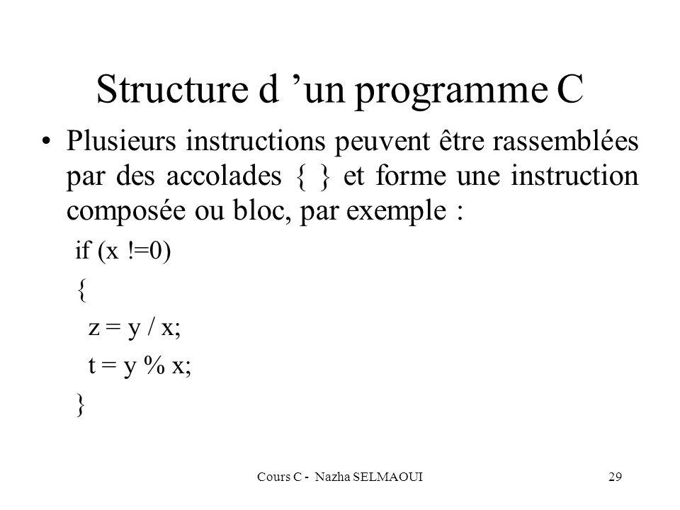 Cours C - Nazha SELMAOUI29 Structure d un programme C Plusieurs instructions peuvent être rassemblées par des accolades { } et forme une instruction composée ou bloc, par exemple : if (x !=0) { z = y / x; t = y % x; }