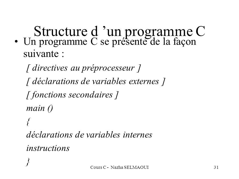 Cours C - Nazha SELMAOUI31 Structure d un programme C Un programme C se présente de la façon suivante : [ directives au préprocesseur ] [ déclarations de variables externes ] [ fonctions secondaires ] main () { déclarations de variables internes instructions }