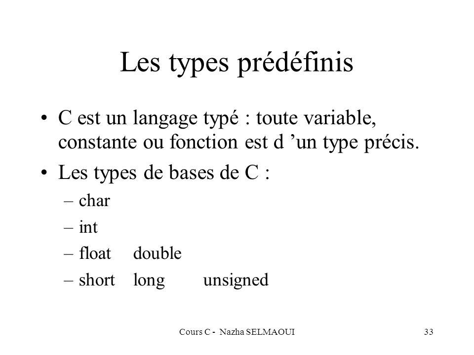 Cours C - Nazha SELMAOUI33 Les types prédéfinis C est un langage typé : toute variable, constante ou fonction est d un type précis.