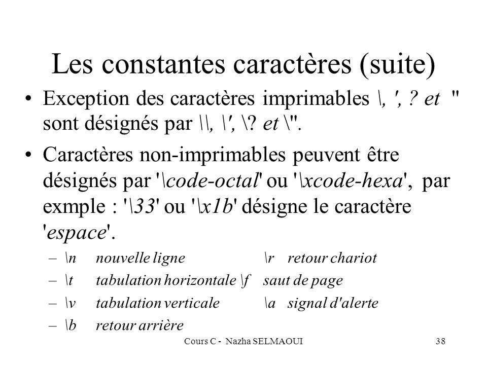 Cours C - Nazha SELMAOUI38 Les constantes caractères (suite) Exception des caractères imprimables \, , .