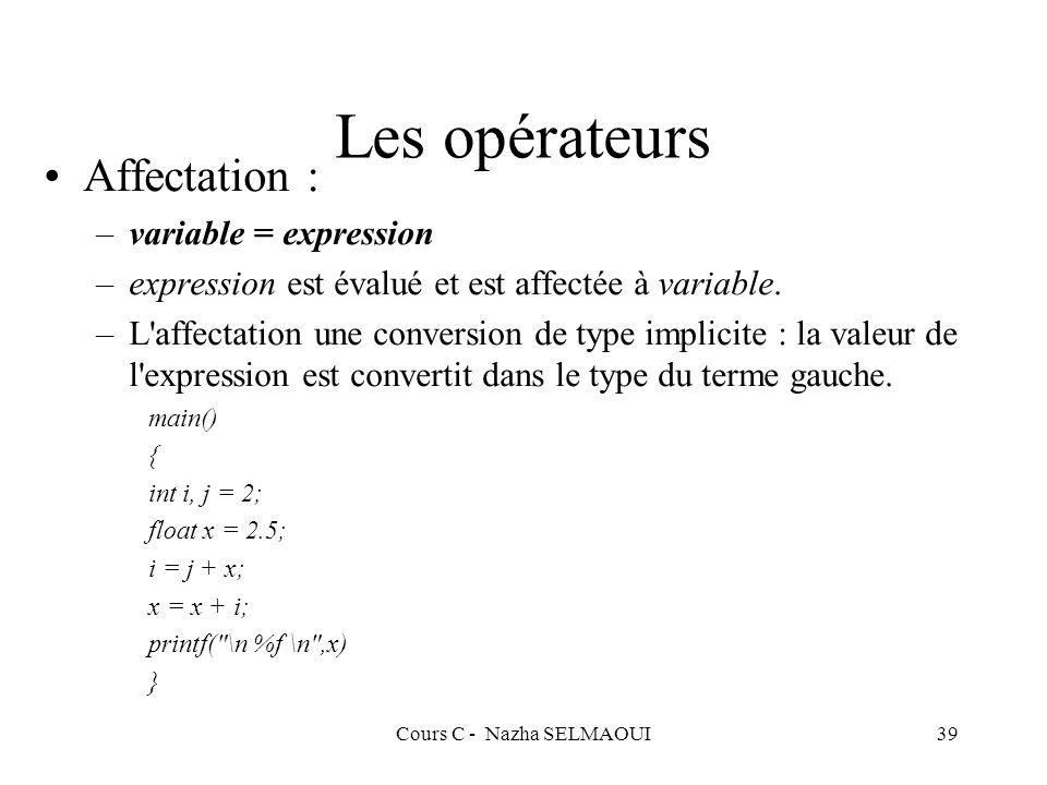 Cours C - Nazha SELMAOUI39 Les opérateurs Affectation : –variable = expression –expression est évalué et est affectée à variable.
