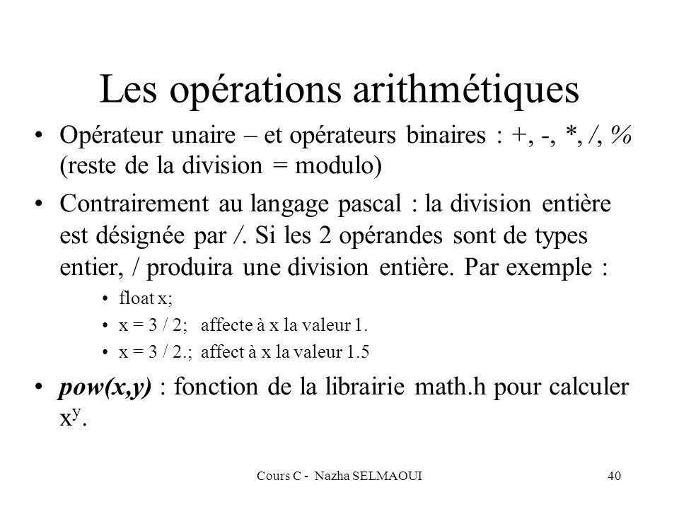 Cours C - Nazha SELMAOUI40 Les opérations arithmétiques Opérateur unaire – et opérateurs binaires : +, -, *, /, % (reste de la division = modulo) Contrairement au langage pascal : la division entière est désignée par /.