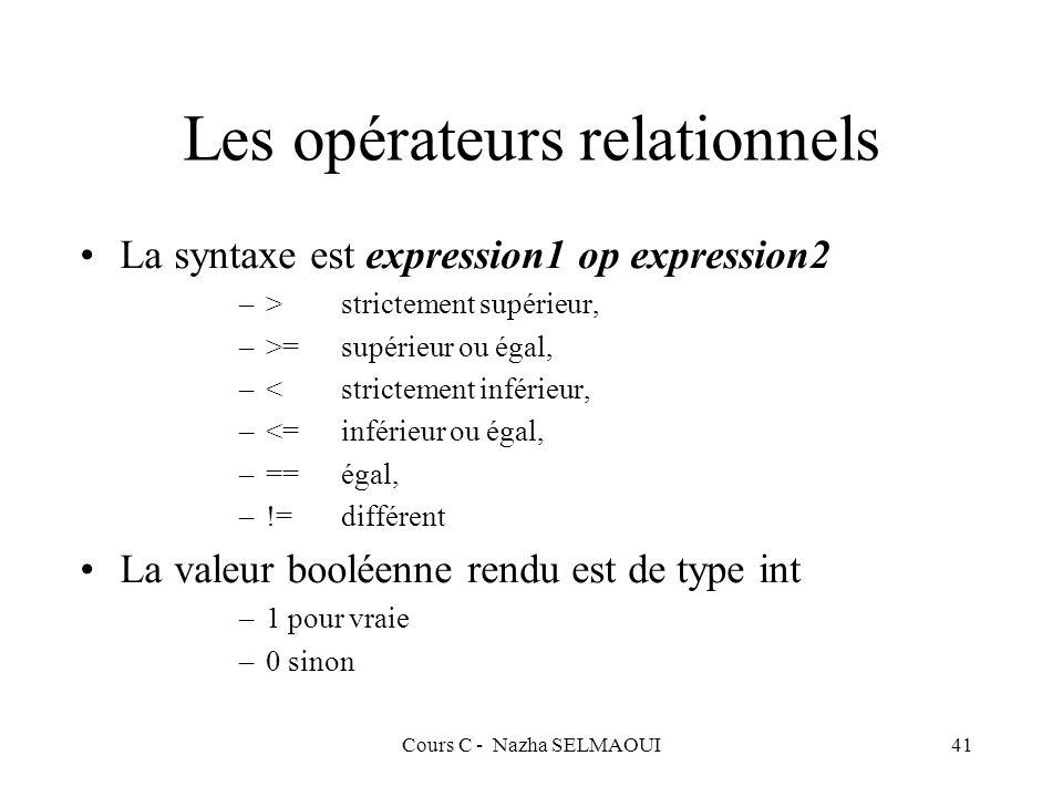 Cours C - Nazha SELMAOUI41 Les opérateurs relationnels La syntaxe est expression1 op expression2 –>strictement supérieur, –>=supérieur ou égal, –<strictement inférieur, –<=inférieur ou égal, –==égal, –!=différent La valeur booléenne rendu est de type int –1 pour vraie –0 sinon
