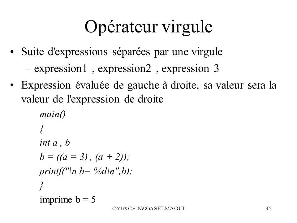 Cours C - Nazha SELMAOUI45 Opérateur virgule Suite d expressions séparées par une virgule –expression1, expression2, expression 3 Expression évaluée de gauche à droite, sa valeur sera la valeur de l expression de droite main() { int a, b b = ((a = 3), (a + 2)); printf( \n b= %d\n ,b); } imprime b = 5
