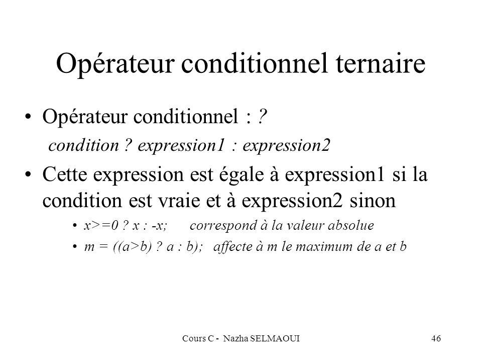 Cours C - Nazha SELMAOUI46 Opérateur conditionnel ternaire Opérateur conditionnel : .