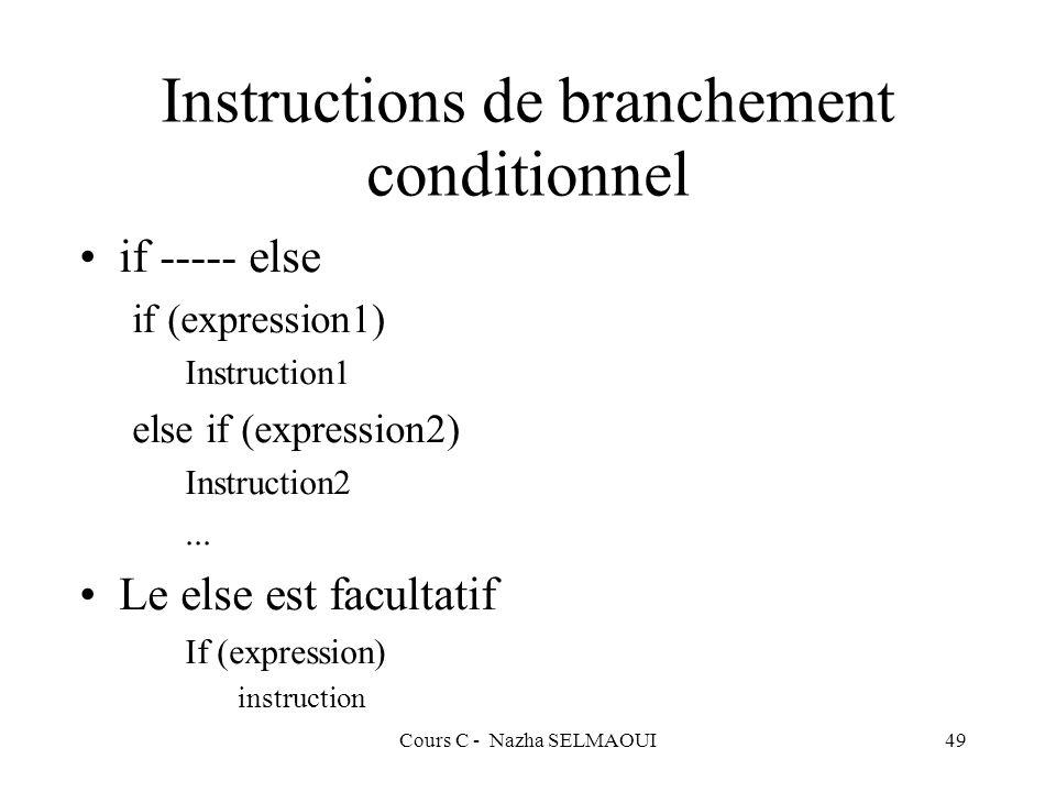 Cours C - Nazha SELMAOUI49 Instructions de branchement conditionnel if ----- else if (expression1) Instruction1 else if (expression2) Instruction2...