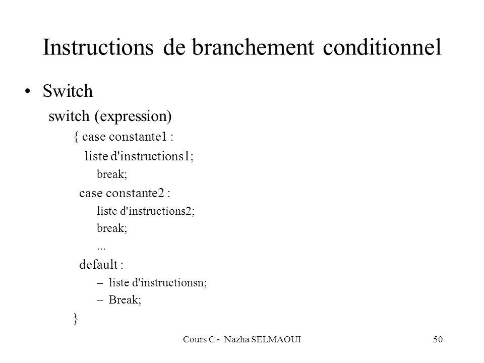 Cours C - Nazha SELMAOUI50 Instructions de branchement conditionnel Switch switch (expression) { case constante1 : liste d instructions1; break; case constante2 : liste d instructions2; break;...