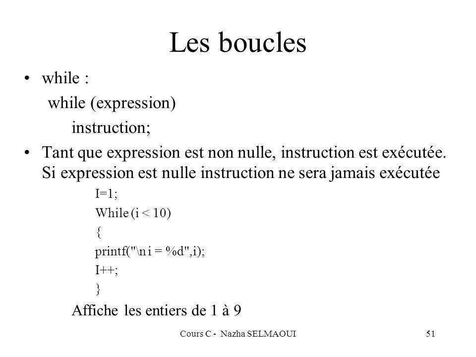 Cours C - Nazha SELMAOUI51 Les boucles while : while (expression) instruction; Tant que expression est non nulle, instruction est exécutée.
