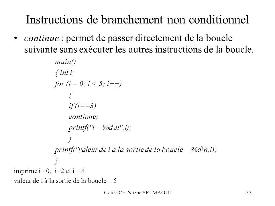 Cours C - Nazha SELMAOUI55 Instructions de branchement non conditionnel continue : permet de passer directement de la boucle suivante sans exécuter les autres instructions de la boucle.