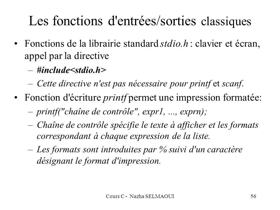 Cours C - Nazha SELMAOUI56 Les fonctions d entrées/sorties classiques Fonctions de la librairie standard stdio.h : clavier et écran, appel par la directive –#include –Cette directive n est pas nécessaire pour printf et scanf.