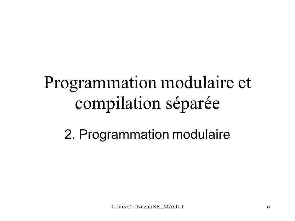 Cours C - Nazha SELMAOUI127 Définition d une fonction La fonction se termine par l instruction return : –return(expression);expression du type de la fonction –return;fonction sans type Ex : int produit (int a, int b) { return(a * b); } void imprime_tab (int *tab, int nb_elements) { int i; for ( i = 0; i < nb_elements, i++) printf( %d \t ,tab[i]); printf( \n ); return; } int puissance (int a, int n) { if ( n == 0) return(1); return(a * puissance(a, n-1)); }