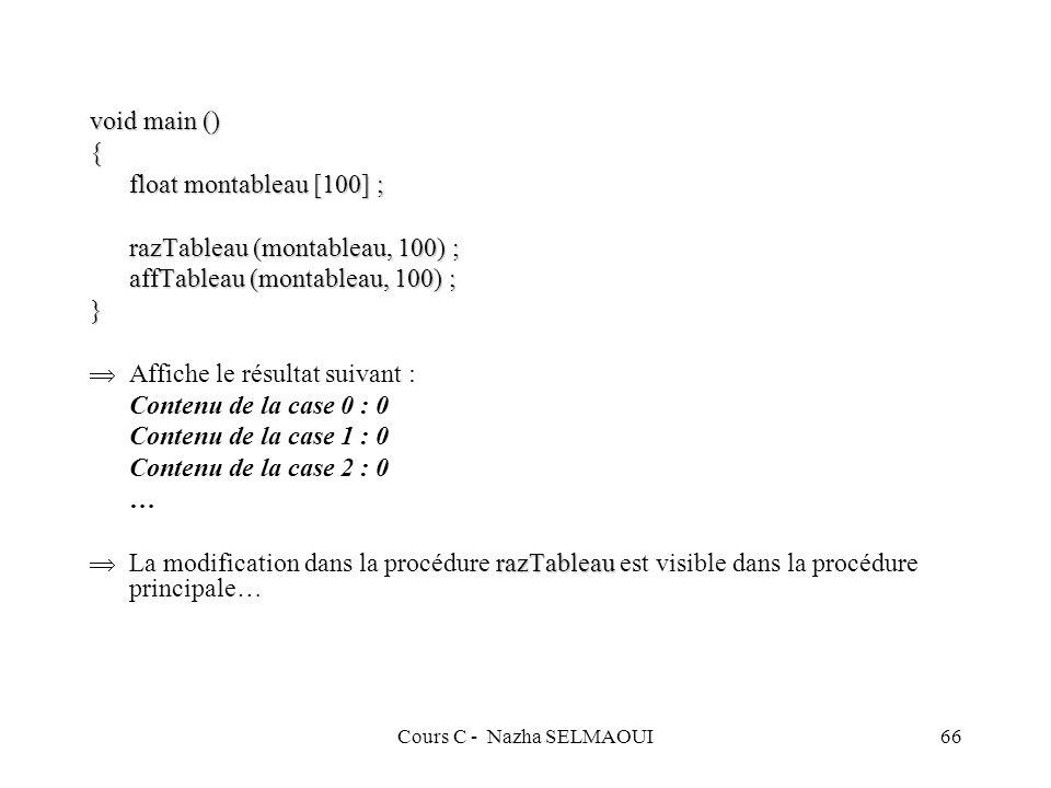 Cours C - Nazha SELMAOUI66 void main () { float montableau [100] ; razTableau (montableau, 100) ; affTableau (montableau, 100) ; } Affiche le résultat suivant : Contenu de la case 0 : 0 Contenu de la case 1 : 0 Contenu de la case 2 : 0 … razTableau La modification dans la procédure razTableau est visible dans la procédure principale…