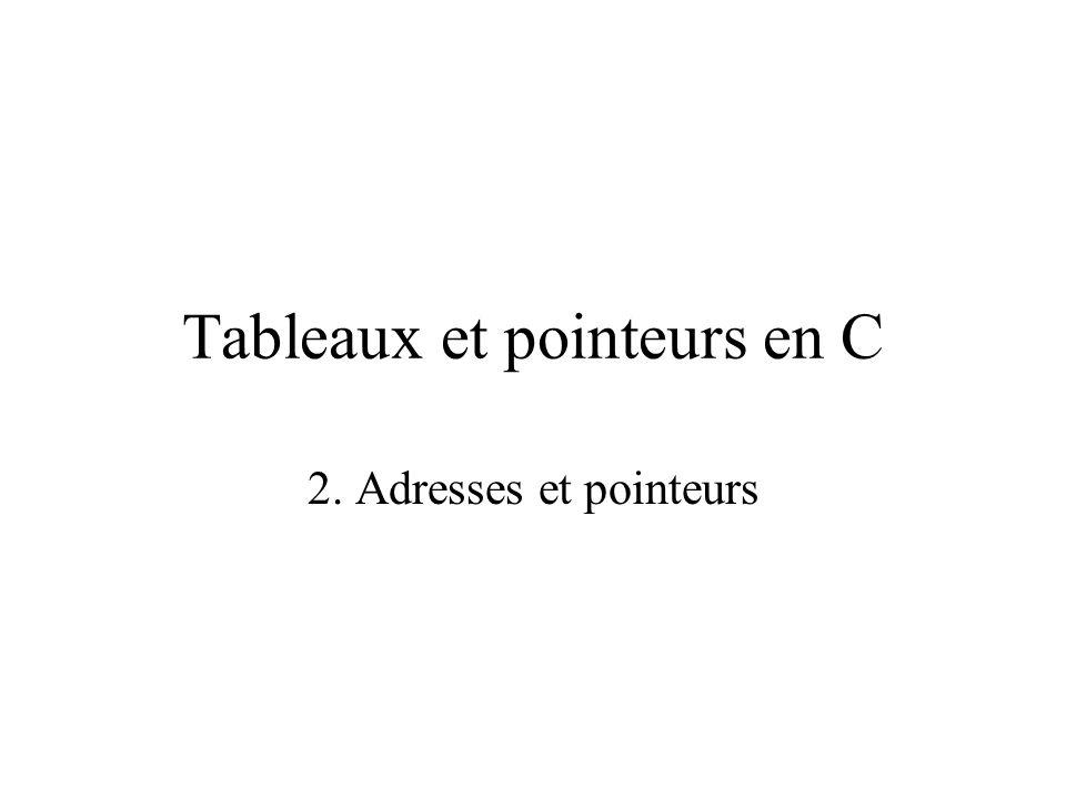 Tableaux et pointeurs en C 2. Adresses et pointeurs