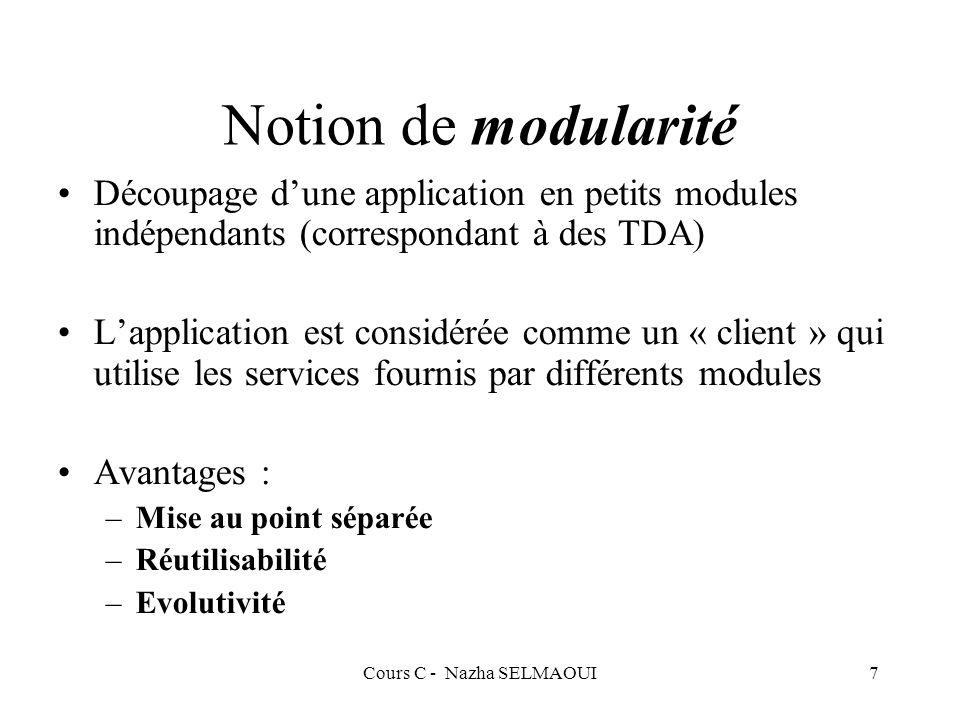 Cours C - Nazha SELMAOUI7 Notion de modularité Découpage dune application en petits modules indépendants (correspondant à des TDA) Lapplication est considérée comme un « client » qui utilise les services fournis par différents modules Avantages : –Mise au point séparée –Réutilisabilité –Evolutivité