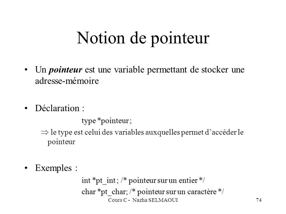 Cours C - Nazha SELMAOUI74 Notion de pointeur Un pointeur est une variable permettant de stocker une adresse-mémoire Déclaration : type *pointeur ; le type est celui des variables auxquelles permet daccéder le pointeur Exemples : int *pt_int ; /* pointeur sur un entier */ char *pt_char; /* pointeur sur un caractère */