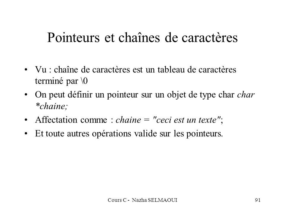 Cours C - Nazha SELMAOUI91 Pointeurs et chaînes de caractères Vu : chaîne de caractères est un tableau de caractères terminé par \0 On peut définir un pointeur sur un objet de type char char *chaine; Affectation comme : chaine = ceci est un texte ; Et toute autres opérations valide sur les pointeurs.